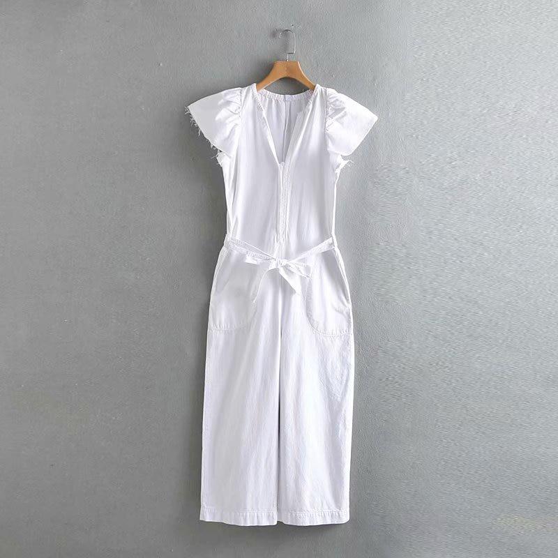 Spring-Summer Fashion Women White Long   Jumpsuit   2019 Female Adjustable Waist With Belt V-neck Loose   Jumpsuit   combinaison femme