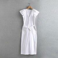 Spring Summer Fashion Women White Long Jumpsuit 2019 Female Adjustable Waist With Belt V neck Loose Jumpsuit combinaison femme