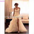 Fitted A Line Chiffon Wedding Dress Ruffles Pleat Long Wedding Dress Flowers Sexy Wedding Gowns Vestidos de Noiva SL-W300