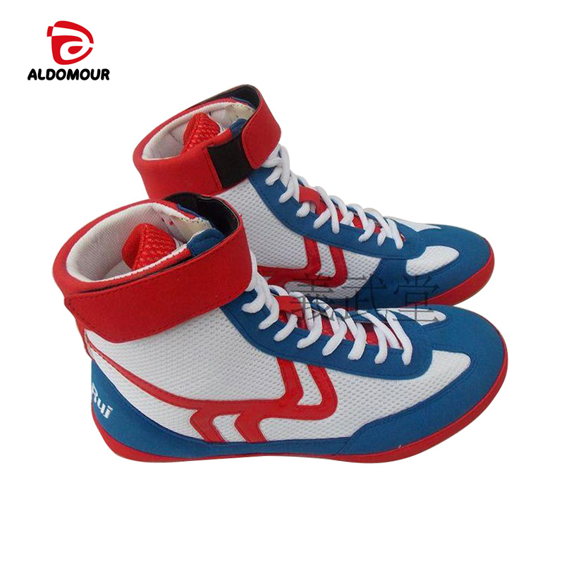 Aldomour Leather Wrestling Shoes High Boxing Shoes Rubber -8841
