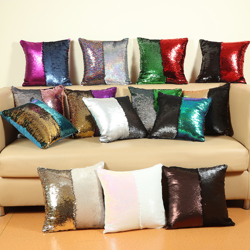 Cushion Cover Mermaid Sequin Colorful Printed Pillow Case for Decoration Christmas Party Home Car Sofa Cushion Covers 40*40cm