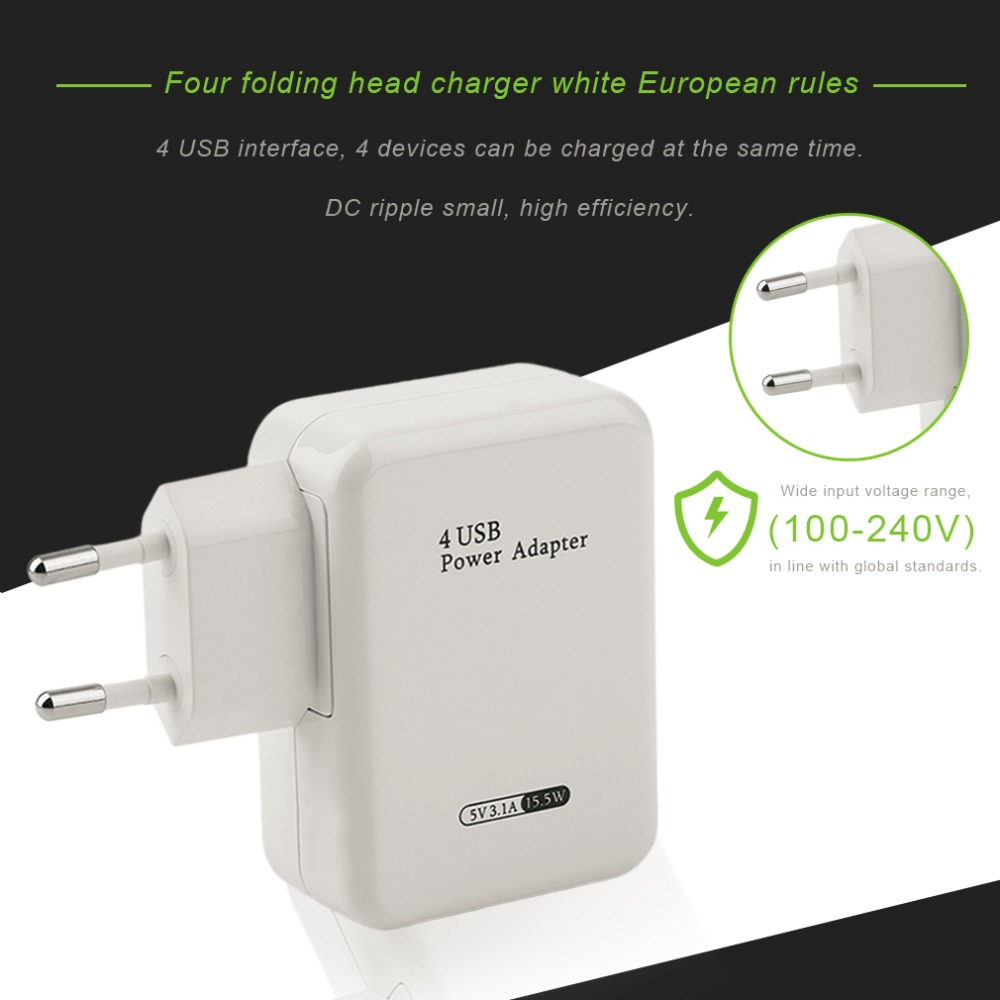 Multifunctional Universal USB Charger Outdoor Travel Wall Charger Adapter Portable Smart Phone Charger 4 Ports
