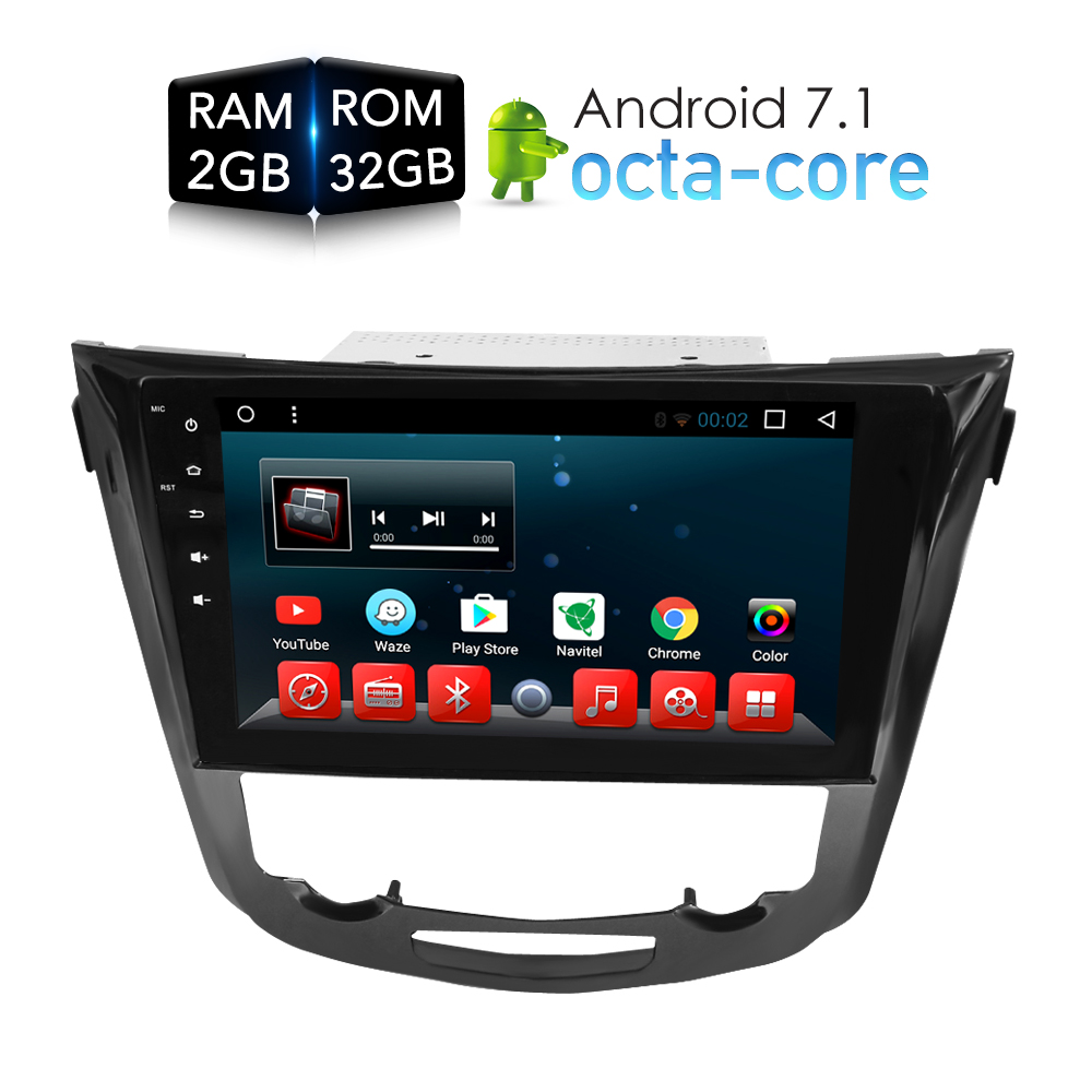 Octa Core Android 7.1 Car Radio GPS Navigation Multimedia Player Stereo For Nissan Qashqai X-Trail 2014+ 2017 Auto Audio