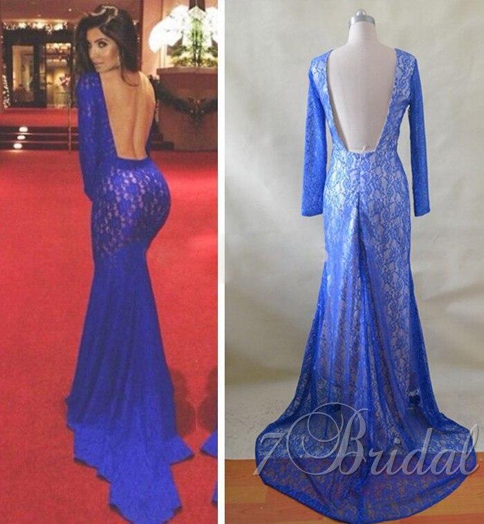 Light Blue Lace Backless Prom Dresses