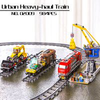 In Stock 02009 City Series Remote Control Heavy haul Train Set Building Blocks Bricks Educational Toys Model Lepin Kids Gifts