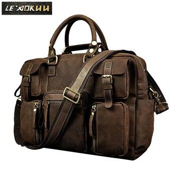 d0c285e1d981 Ретро crazy horse кожаная мужская модная сумка деловой портфель Commercia  commerмужская t чехол для ноутбука Мужская сумка-портфель 3061