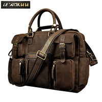 2012 Fashion Vintage Crazy Horse Leather Handbag Travel Bag Male Box Luggage 3062
