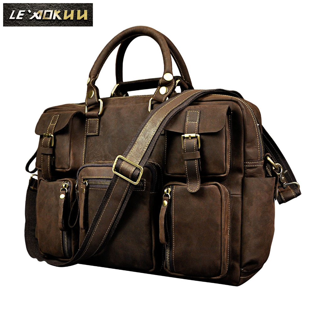 Retro Crazy Horse Leather Men Fashion Handbag Business Briefcase Commercia Document Laptop Case Male Attache Portfolio Bag 3061