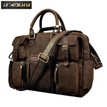 Retro crazy horse leather Men Fashion Handbag Business Briefcase Commercia Document Laptop Case Male Attache Portfolio Bag 3061 - DISCOUNT ITEM  48% OFF All Category