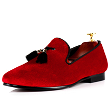Harpelunde Men Loafers Velvet Red Flats Shoes Tassel Casual Shoes Size 7-14