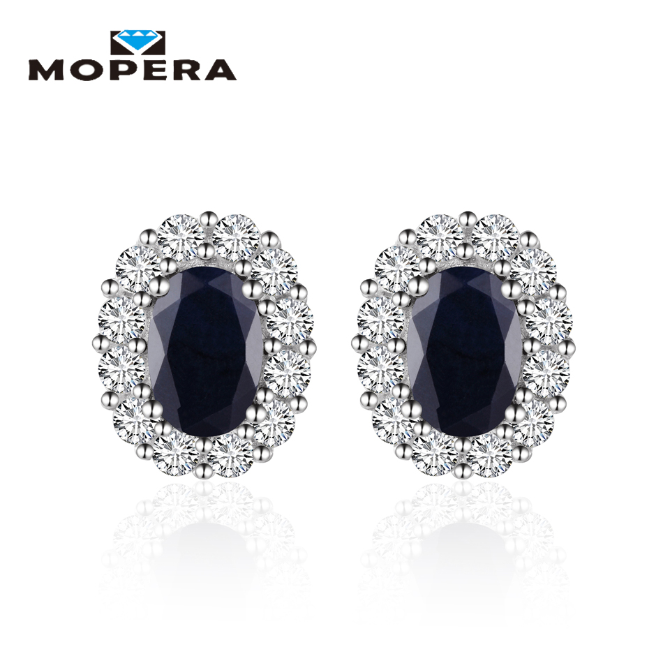 Princess Diana William Kate Middleton's 1.44ct Natural Black Sapphire Stud Earrings For Women 925 Sterling Silver Fine Jewelry lindop christine william and kate