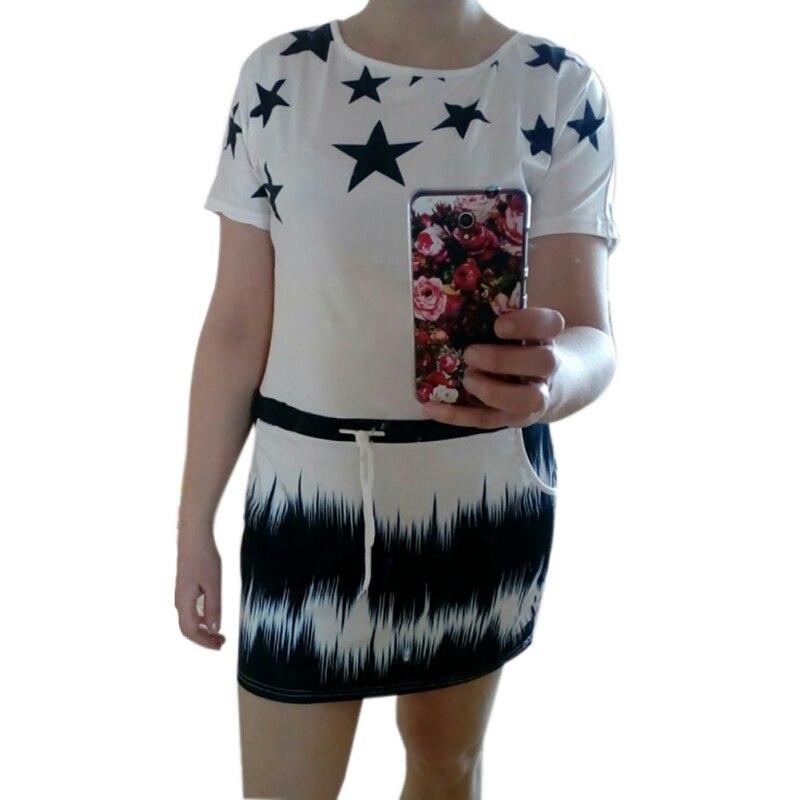Nueva moda de nueva mujer dress impresión del o-cuello del verano estrella casua