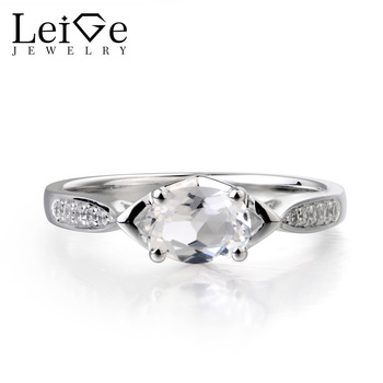 Leige Jewelry Natural White Topaz Ring Anniversary Ring Real Solid 925 Sterling Silver November Birthstone Simple Ring for Women