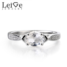 Leige Jewelry Natural White Topaz Ring Anniversary Ring Real Solid 925 Sterling Silver font b November