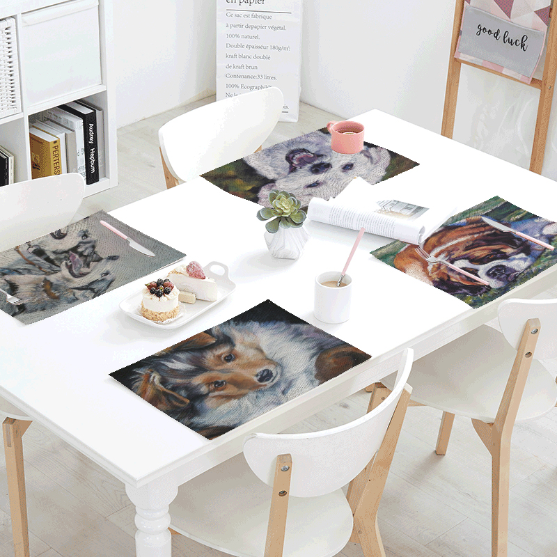 Personalized Animal Table Cloth Cute Dog Shepherd Teddy Siberian Schnauzer Restaurant Tablecloth Decoration Linencotton Material