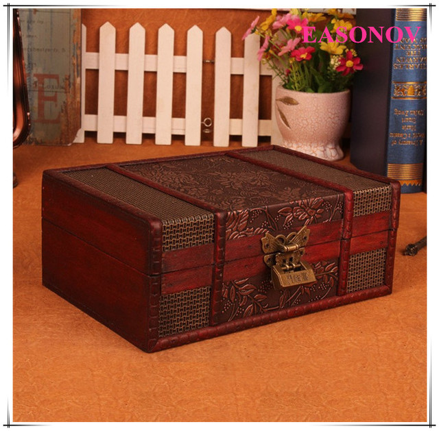 2325e757088 23X16X9.5 cm Vintage Nostalgische stijl retro koffer Houten opbergdoos  Sieraden doos Decoratieve patroon met