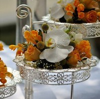 1set/lot 3 layers Silver plated metal compote of fruit and wedding cake pan holder