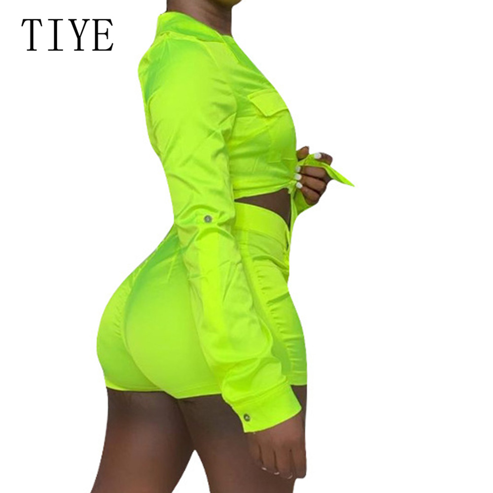 TIYE New Fashion Long Sleeve Turn down Neck Green Two Pieces Sets Bodycon Playsuits Femme Casual Go Out Wear Rompers Mono Mujer in Rompers from Women 39 s Clothing