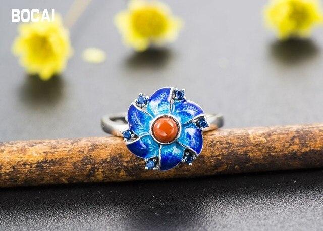 S925 Silver Vintage Cloisonne Flower RingFashion Lapis Lazuli ringOptimized Turquoise Ring