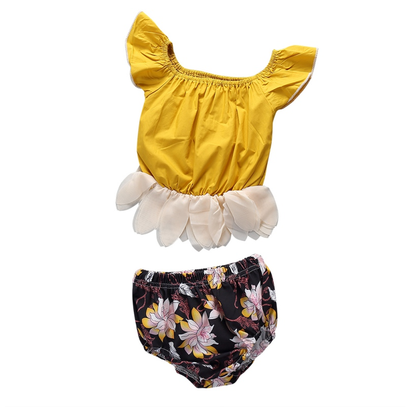 2018 New Cute Baby Girls Short Sleeve Blouse Tube Top+High Waist Pom Pom Short Pants Baby Girl Clothes Newborn Clothes