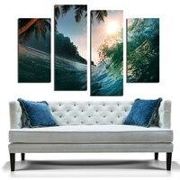 Darmowa wysyłka morza śródziemnego niebieski księżyc fala scenerii obraz olejny na płótnie drukowane na płótnie wall art zdjęcia dekoracje