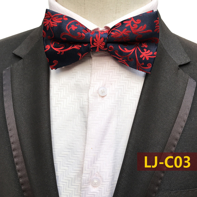e2ba32f0767c Men's Bow Tie Gold Red Navy Rose Paisley Bowtie Business Wedding Bowknot  Dot Blue And Black