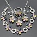 Conjuntos de Jóias Para As Mulheres de Cor prata Pedras Multicolor CZ Colar Pingente Pulseiras Brincos Anéis de Natal Caixa de Presente Livre