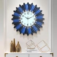 Blue Leaves Large Wall Clock Modern Design Kitchen Digital Clocks Wall Watches European Style Living Room Hallway Home Decor