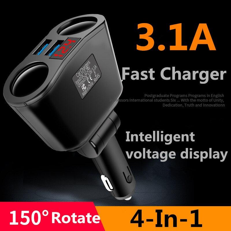 VIKEFON Usb chargeur de voiture 3.1A voiture allume-cigare prise séparateur prise LED chargeur de voiture adaptateur 90W détection pour téléphone MP3 DVR