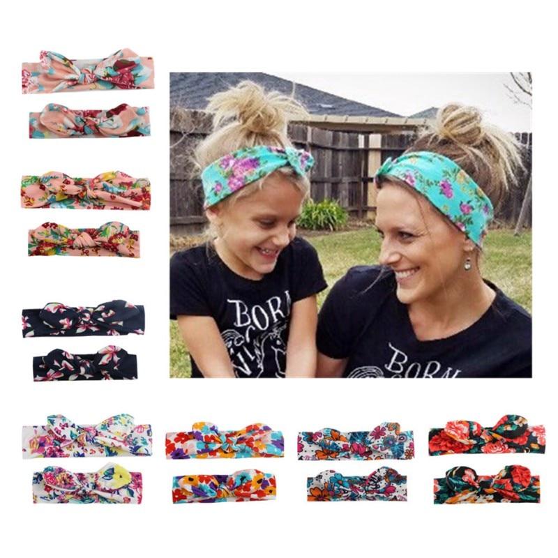 2Pcs Girls Hairband Mom And Me Bohemian Turban Headband Top Knotted Rabbit Ears Elastic Bowknot Matching Headband Mommy Hairband