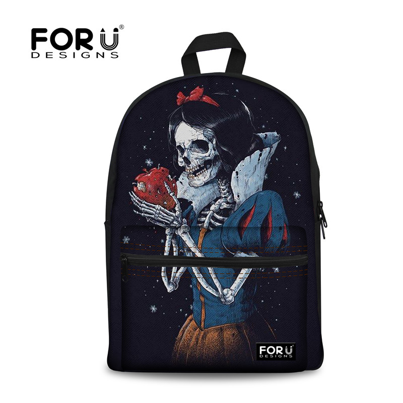 FORUDESIGNS Cool Skull Printing Backpack for Teenage Girls Boys,Cute Kids Canvas Backpacks,Children Back Pack Bagpack mochila,