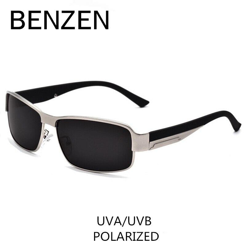 BENZÈNE Polarisées lunettes de Soleil Hommes Classique Alliage Mâle Lunettes de Soleil Lunettes Pour Conduite Nuances Avec Le Cas 9003