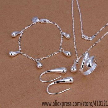 3f5acd8dbae0 S223 Venta caliente envío gratis fina de plata conjuntos de joyas joyería  de plata 925 de moda encantos Droptear anillo pendientes pulsera collar