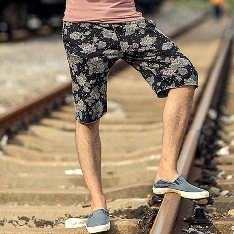 Men summer New hot sale printed flower casual loose black quick dry shorts men cotton fashion European style beach shorts K819