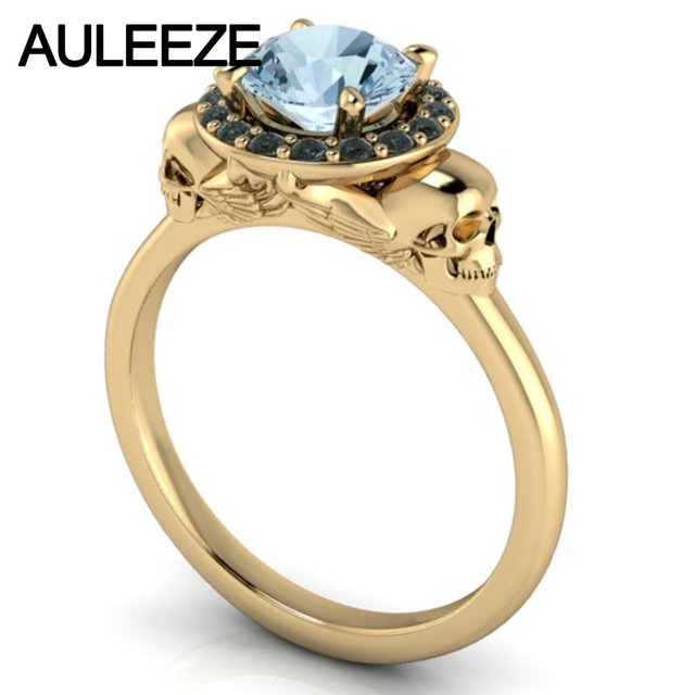 Halloween Double Skull Ring Solitaire Natural Aquamarine Halo Agate