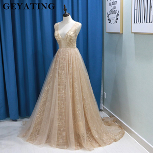 Image 3 - Glitter Champagne Sequins Evening Party Gowns 2020 Elegant Women Plus Size Formal Dress Sexy V Neck Backless Prom Dresses Gold