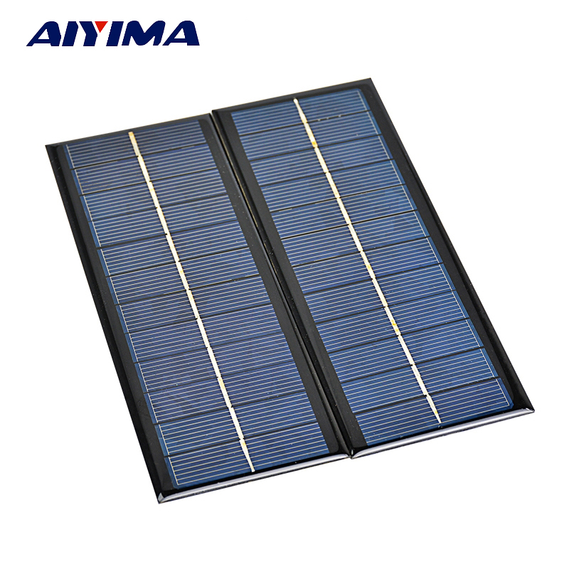 Aiyima 2PCS Polycrystalline Solar panel 5.5V 250MA silicon solar Cells For DIY Solar Charger Sunpower System 165*65MM