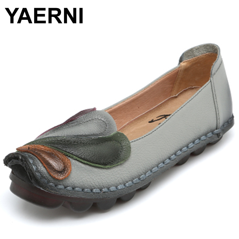 YAERNI Genuine Leather Flat Shoes Loafers Female Solid Comfortable Casual Shoes Plus Size Real Leather Handmade Women Flats muyisexi solid genuine leather with 3d flower loafers sneakers flat height increase casual women shoes gray black plus size bs01