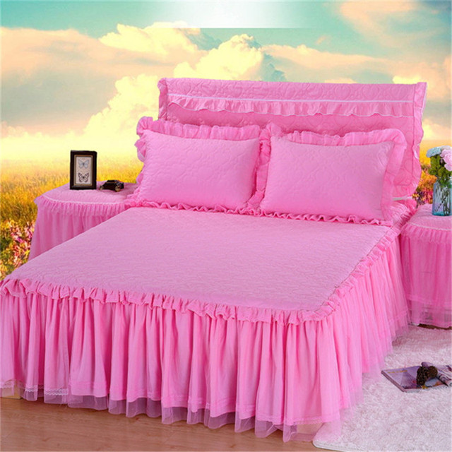 high quality Thickening quilted bed skirt nuptial bedding Bud silk ... : quilted bedskirt - Adamdwight.com