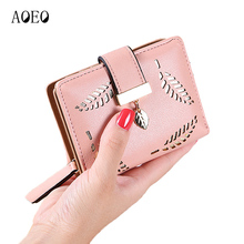 AOEO New Korean Short Ladies Wallet Small Hollow Leaves Zipper Buckle Clutch Money Bag Female wallets for women purse coins