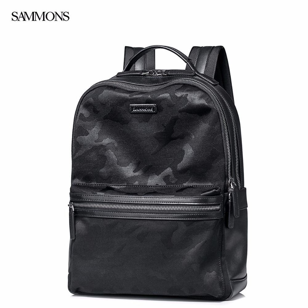 New SAMMONS Brand Design Fashion Men Backpacks Casual School Travel Shoulders Bag Genuine Cow Leather With Camouflage Canvas foru design 600d fashion backpack brand design school book bag polyester bag men computer packsack swiss outsports backpacks