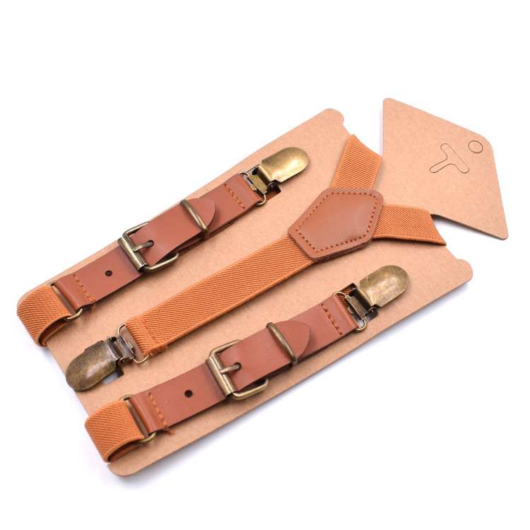 Solid Color Belt Boy Girls Suspenders Polyester Y-Back Braces Adjustable Elastic Kids Suspenders Vintage Bronze Clip-on Braces