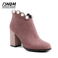 ISNOM Autumn Cow Suede Ankle Boots Women Pearl Boots High Heels Shoes 2018 Fashion Round Toe Female Shoes Short Plush Footwear