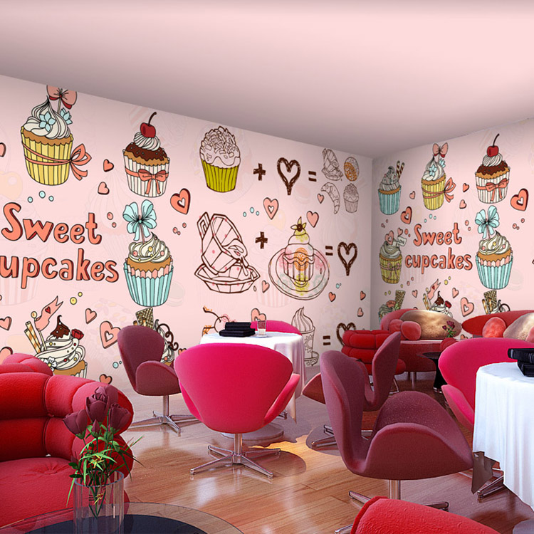 Cartoon Desert Bakery Pizza Cupcake Shop Custom Wallpaper Mural ...