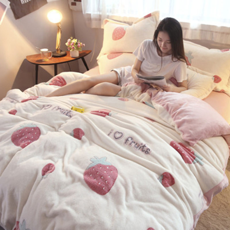 New Winter Bed Four-Piece Snowflake Quilt Single Flower Fruit Animal Pattern Cute Warm Thickening Comfortable Soft Flannel Quilt