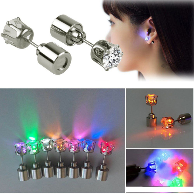 Hot 1 Pc Light Up Led Earrings Studs Flashing Blinking Stainless Steel Dance Party