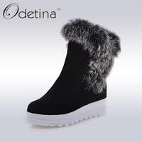 Odetina Fully Rabbit Fur Shaft Snow Boots Women 2016 Winter Platform Wedge Ankle Boots Warm Black