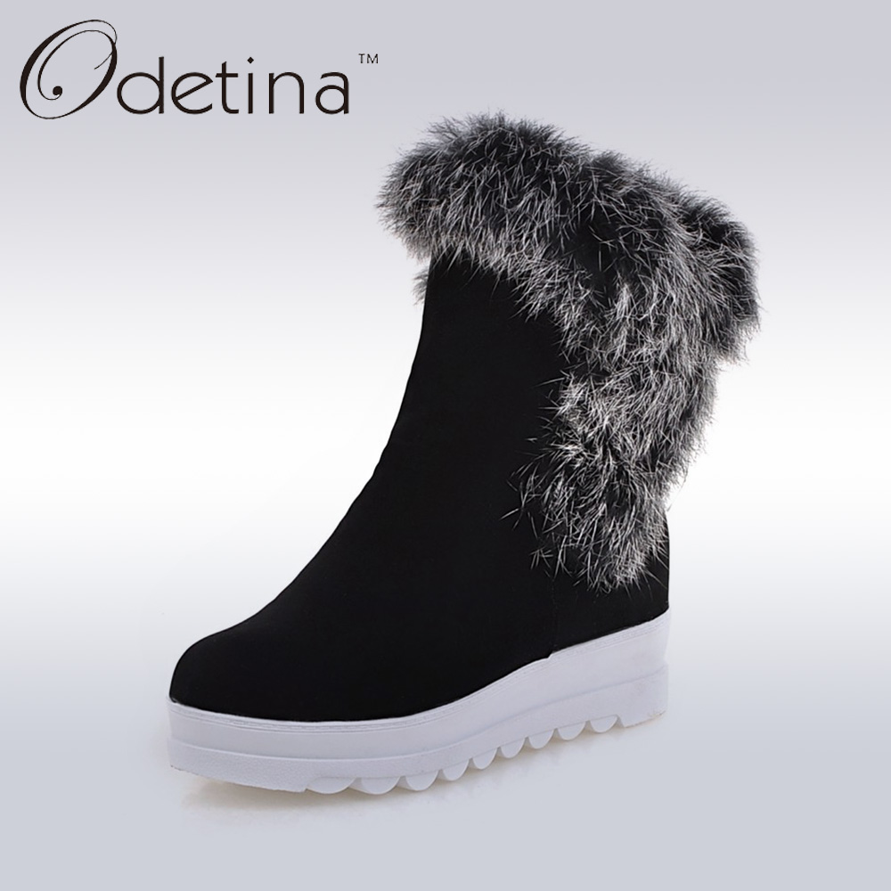 Odetina Fully Rabbit Fur Shaft Snow Boots Women 2016 Winter Platform Wedge Ankle Boots Warm Black Ladies Suede Boots Large Size black and white senior rabbit fur hat