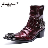 Plus Size Studded Man High Heels Pointed Toe Metal Tipped Punk Shoes Patent Leather Men's Cowboy Motorcycle Ankle Boots SL446