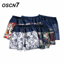 ФОТО oscn7 fashion printed shorts men floral beach summer new 2018 swimwear short pants plus size casual mens shorts